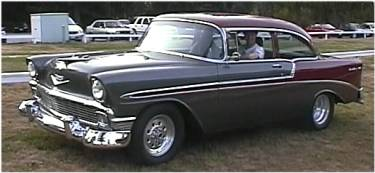 Henry takes his restored 56 Chev Bel Air for a spin